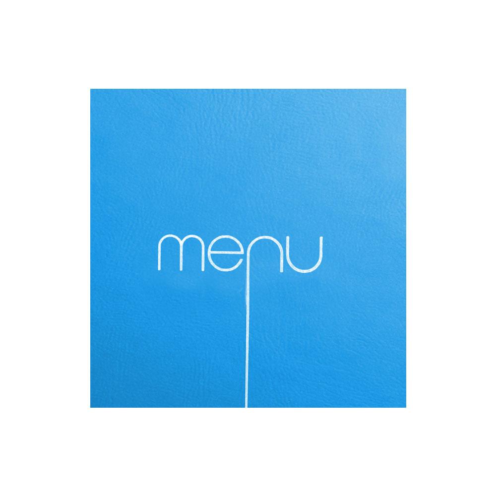 Protège menu Risto couleur bleu format carré 21 cm x 21 cm pour présentation menus hôtels - restaurants