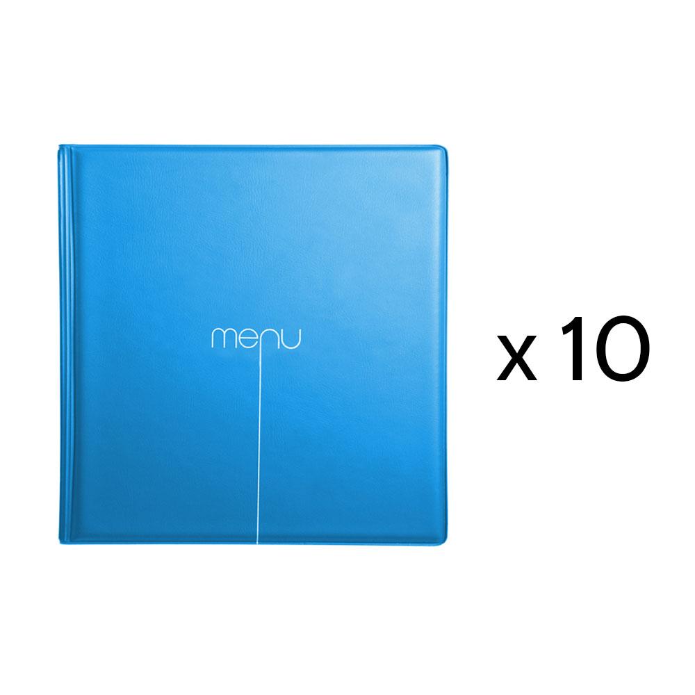 Lot de 10 Protège-menus Risto couleur bleu format carré 21 cm x 21 cm pour présentation menus hôtels - restaurants