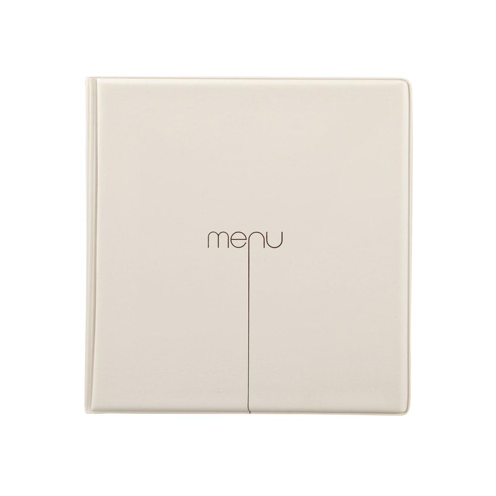 Protège menu Risto couleur beige format carré 21 cm x 21 cm pour présentation menus hôtels - restaurants