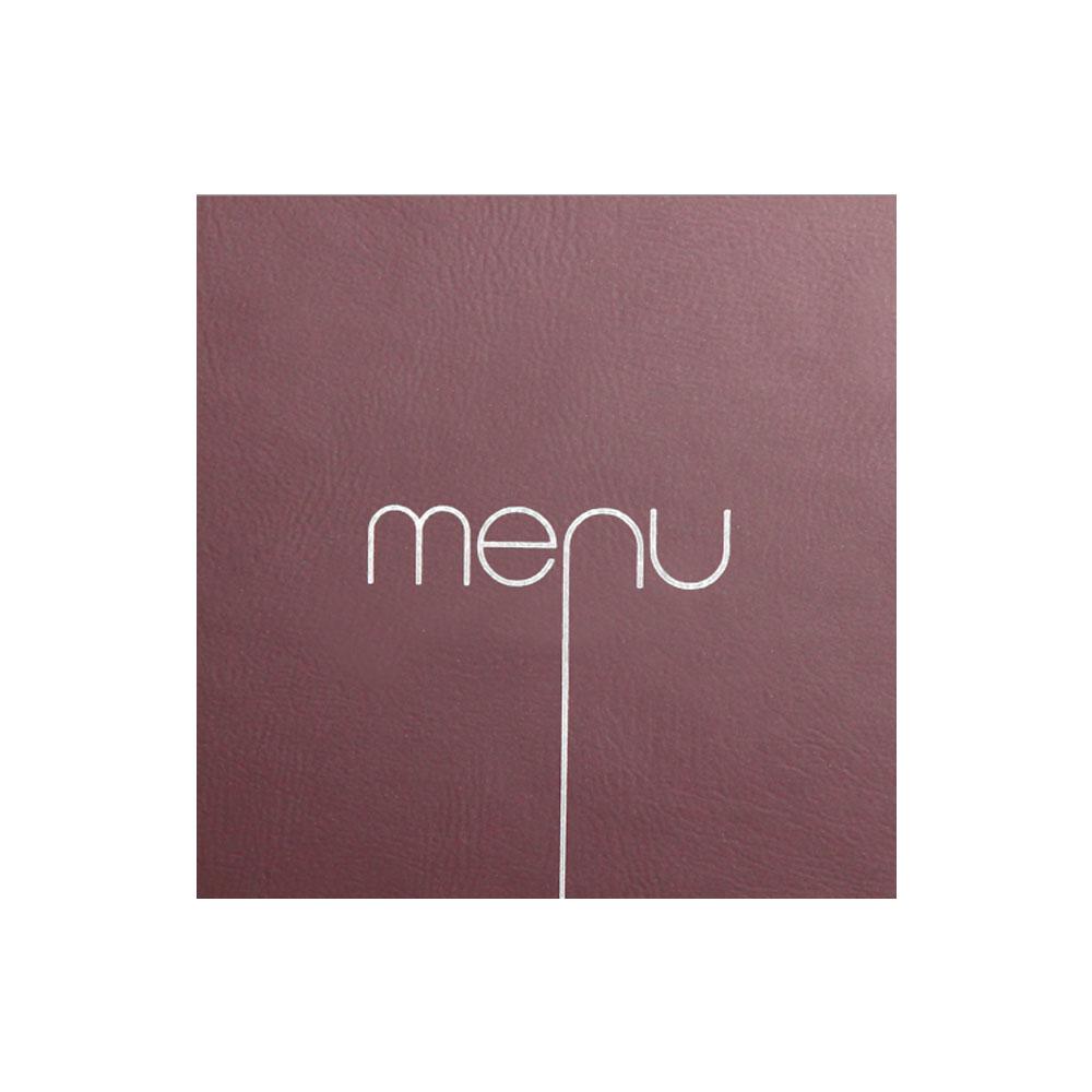 Protège menu Risto couleur bordeaux format carré 21 cm x 21 cm pour présentation menus hôtels - restaurants
