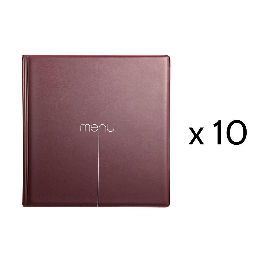 Lot de 10 Protège-menus Risto couleur bordeaux format carré 21 cm x 21 cm pour présentation menus hôtels - restaurants
