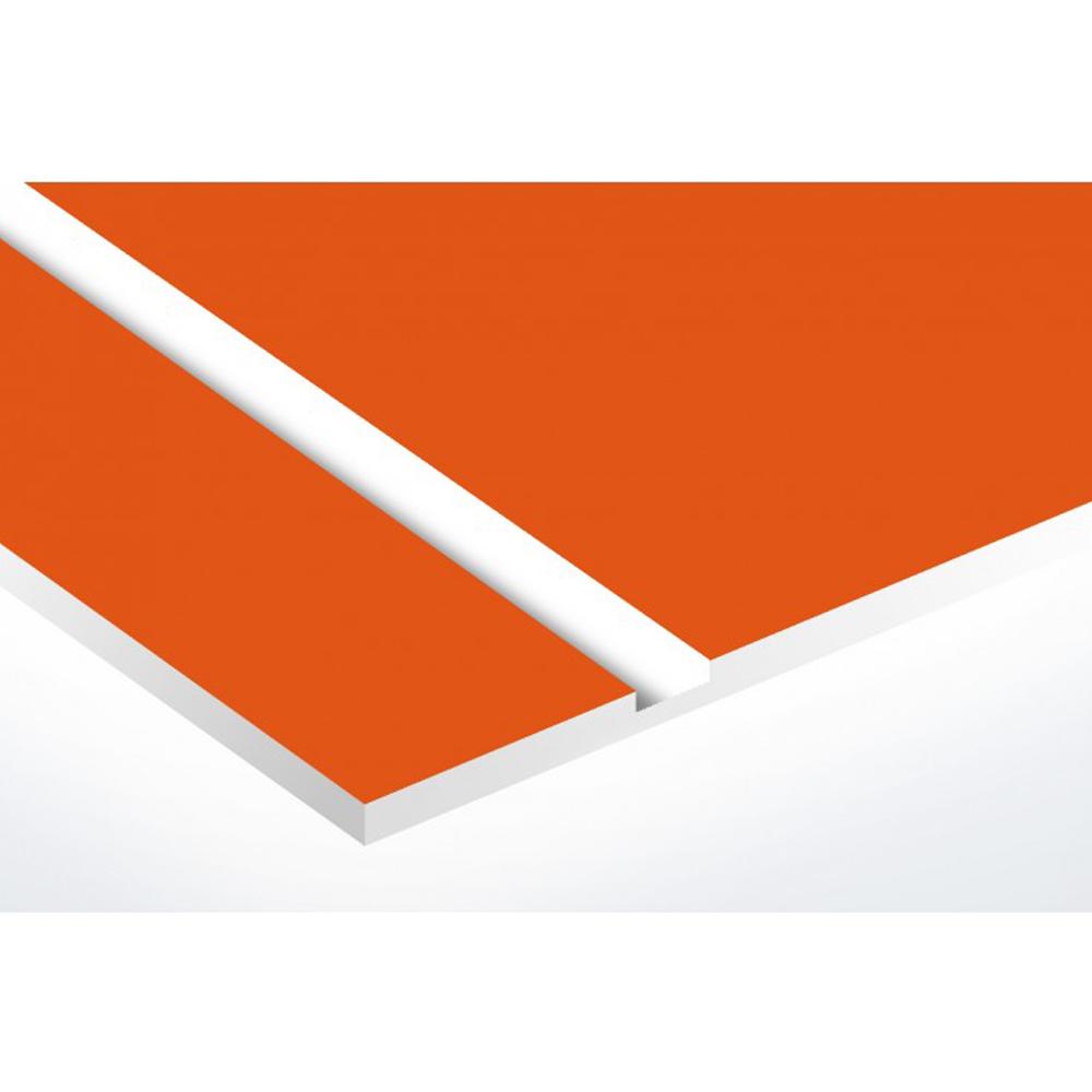 Plaque adhésive interphone ou sonnette 60 mm x 15 mm gravure personnalisée sur 2 lignes couleur orange lettres blanches