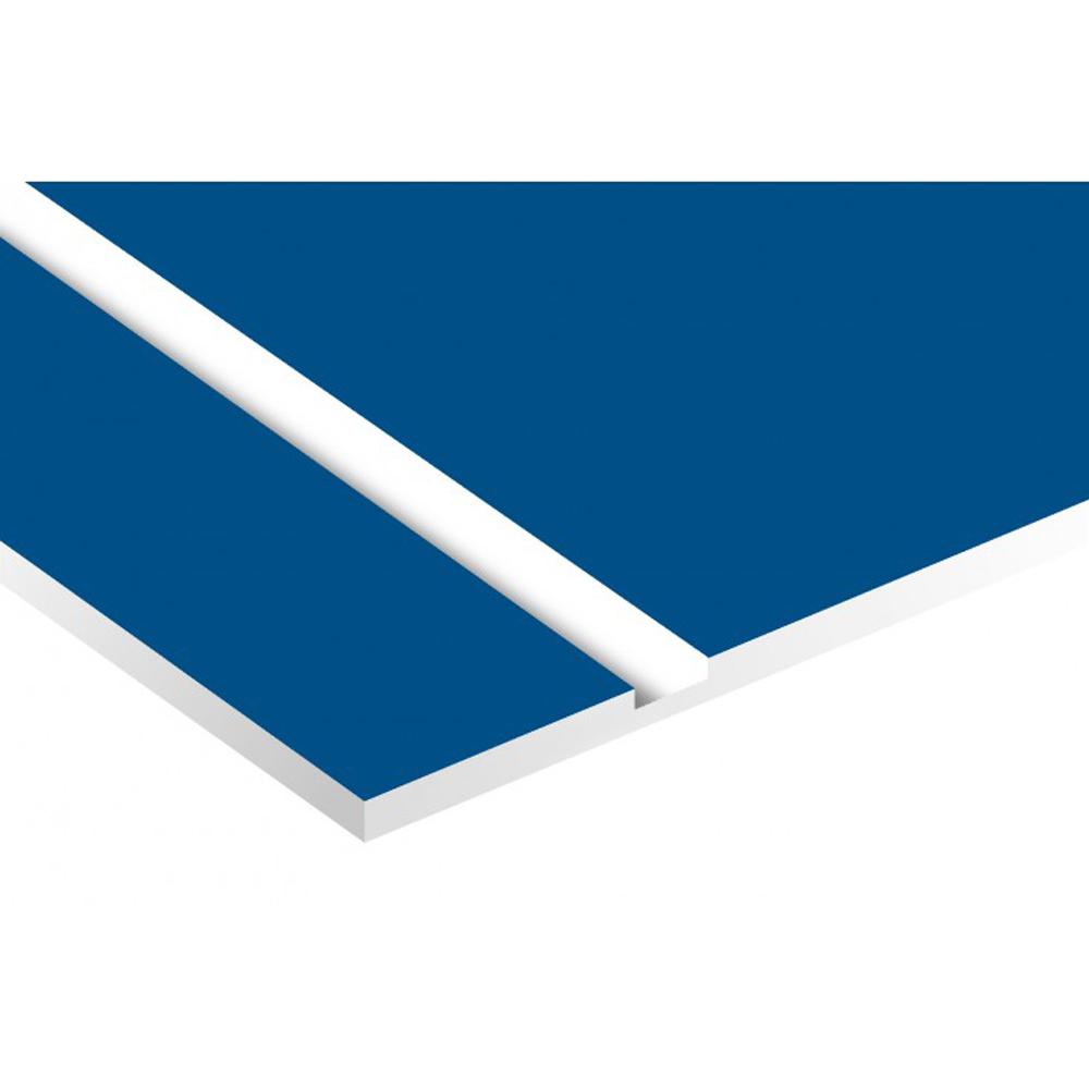Plaque adhésive interphone ou sonnette 60 mm x 15 mm gravure personnalisée sur 2 lignes couleur bleue lettres blanches