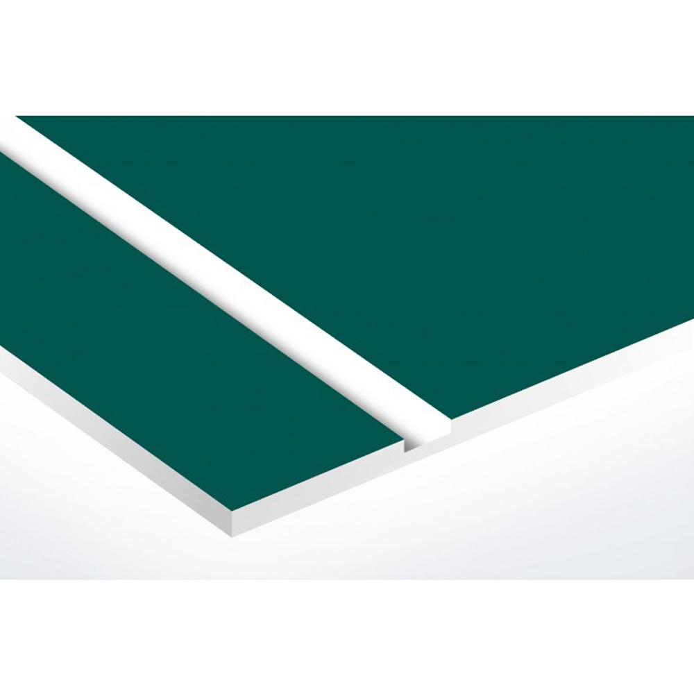 Plaque adhésive interphone ou sonnette 60 mm x 15 mm gravure personnalisée sur 2 lignes couleur vert foncé lettres blanches