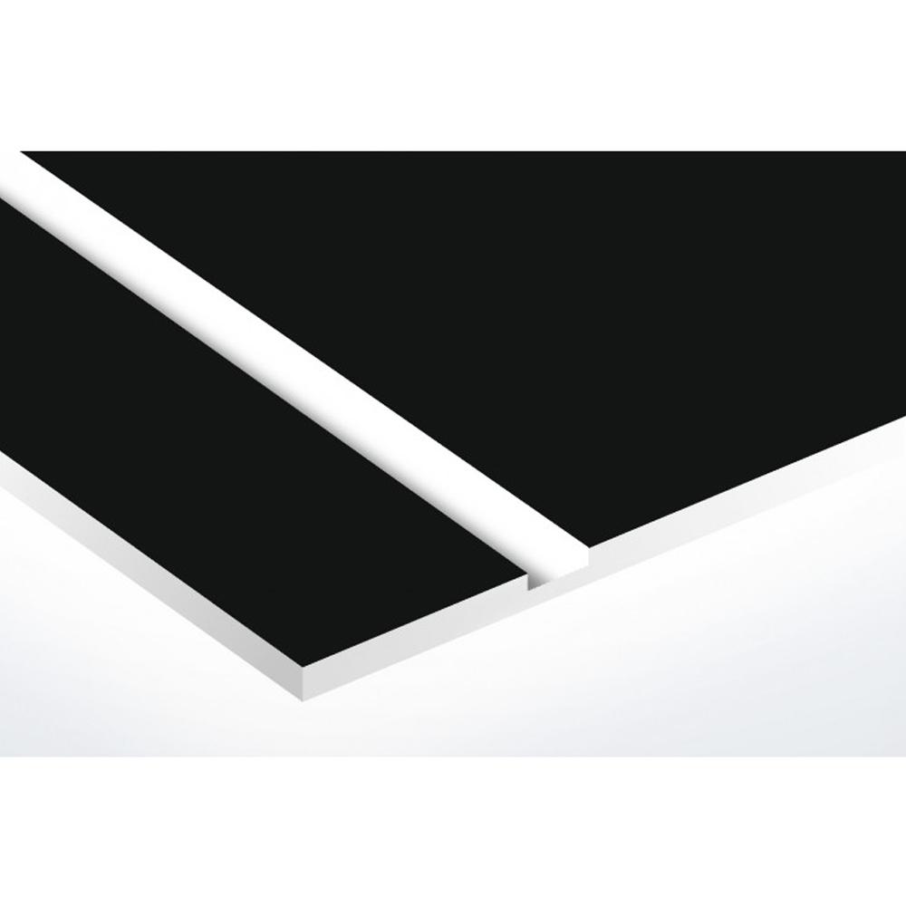 Plaque adhésive interphone ou sonnette 60 mm x 15 mm gravure personnalisée sur 2 lignes couleur noire lettres blanches