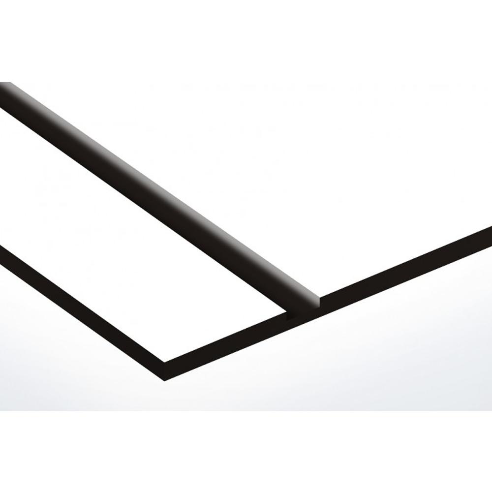 Plaque adhésive interphone ou sonnette 60 mm x 15 mm gravure personnalisée sur 1 ligne couleur blanche lettres noires