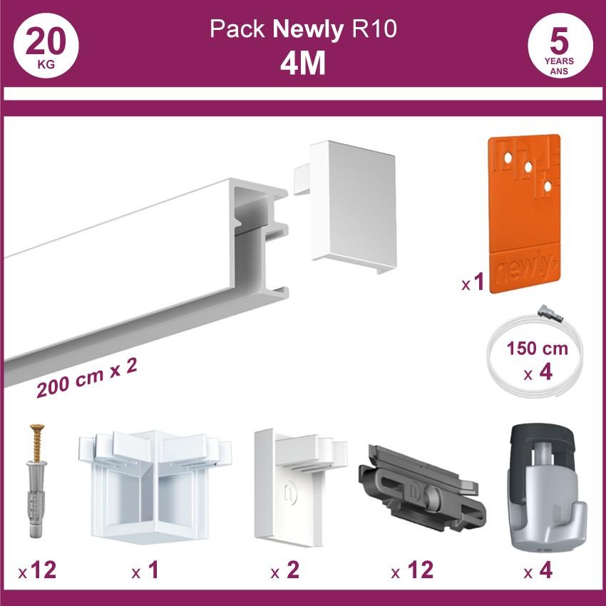 4 mètres Blanc mat : Pack complet cimaise Newly R10