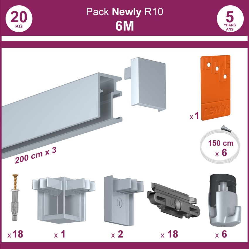 6 mètres Aluminium : Pack complet cimaise Newly R10