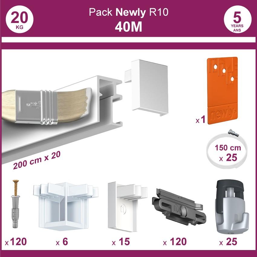 40 mètres Blanc mat : Pack complet cimaise Newly R10