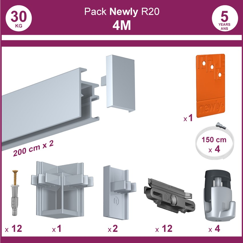 4 mètres Aluminium anodisé : Pack complet cimaise Newly R20