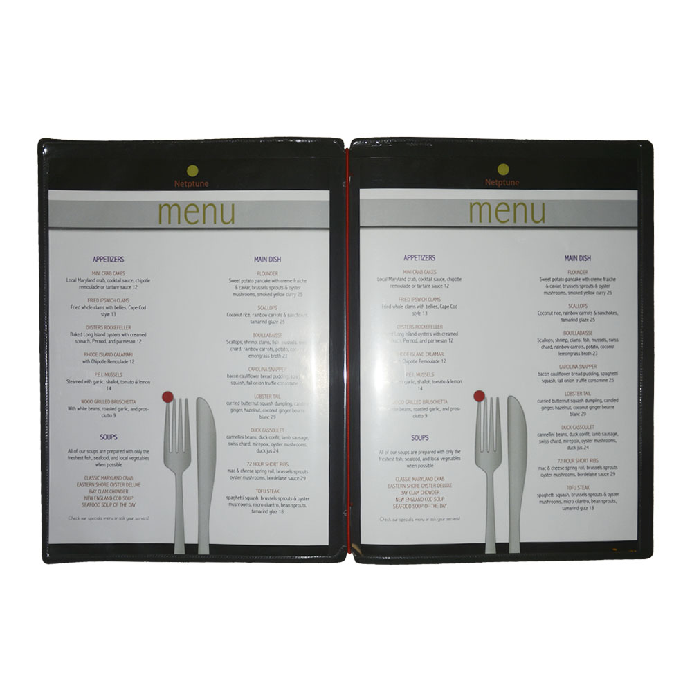 Protège menu personnalisable avec votre logo format A4 couleur noir - Dag Style