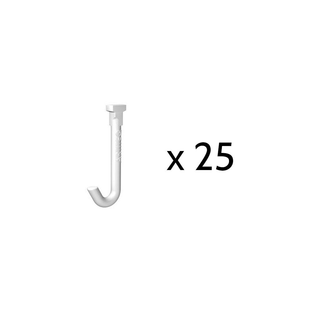 Lot de 25 crochets coulissants Twister Hook pour câble à boucle : charge 1 kg - Artiteq