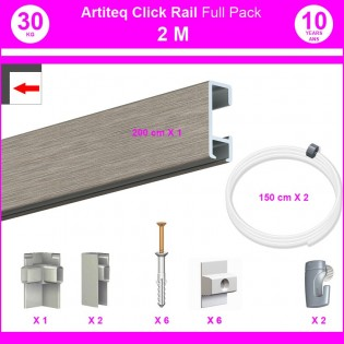 Pack Eco 2 mètres de cimaises Click Rail couleur Aluminium - Solution suspension cadres et tableaux