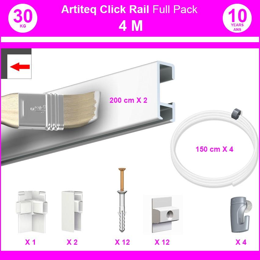 Pack Eco 4 mètres de cimaises Click Rail couleur Blanc (peut être peint) - Solution suspension cadres et tableaux