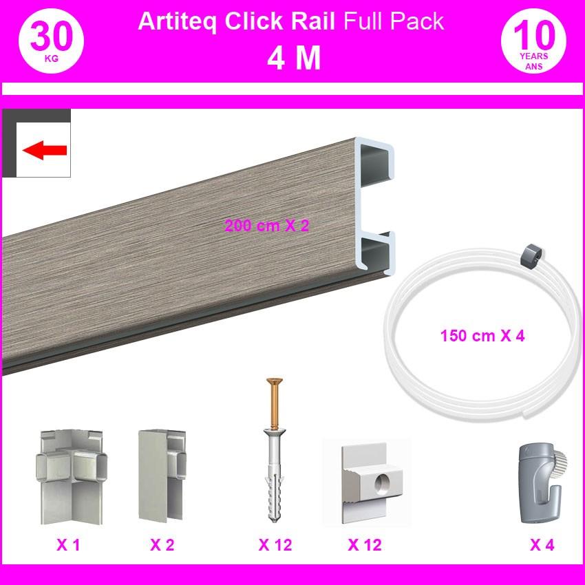 Pack Eco 4 mètres de cimaises Click Rail couleur Aluminium - Solution suspension cadres et tableaux