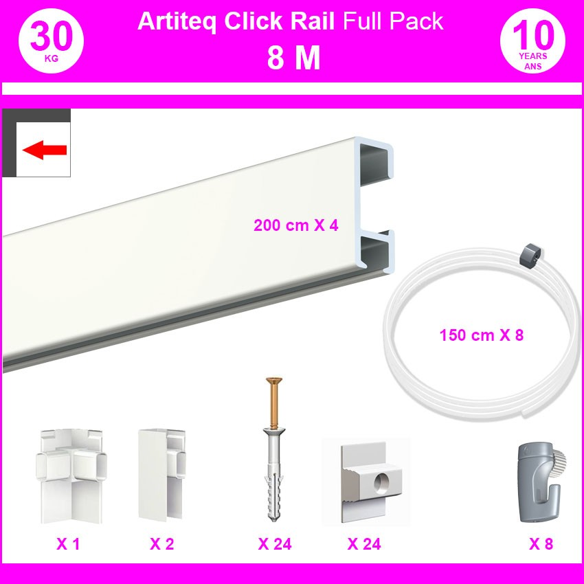 Pack Eco 8 mètres de cimaises Click Rail couleur Blanc laqué (RAL9010) - Solution suspension cadres et tableaux