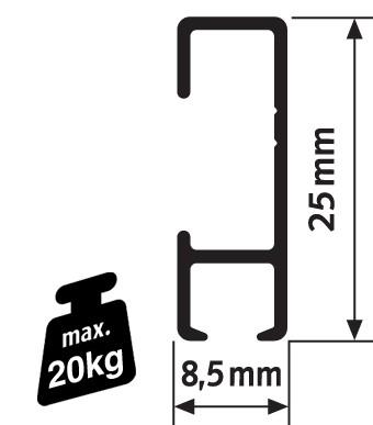 Pack Eco 10 mètres de cimaises Click Rail couleur Aluminium - Solution suspension cadres et tableaux
