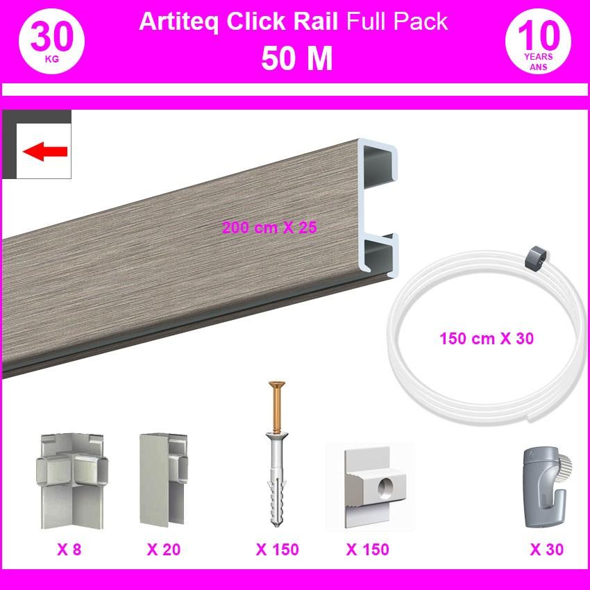 Pack Eco 50 mètres de cimaises Click Rail couleur Aluminium - Solution suspension cadres et tableaux