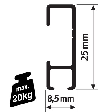 Pack Eco 100 mètres de cimaises Click Rail couleur Blanc (peut être peint) - Solution suspension cadres et tableaux