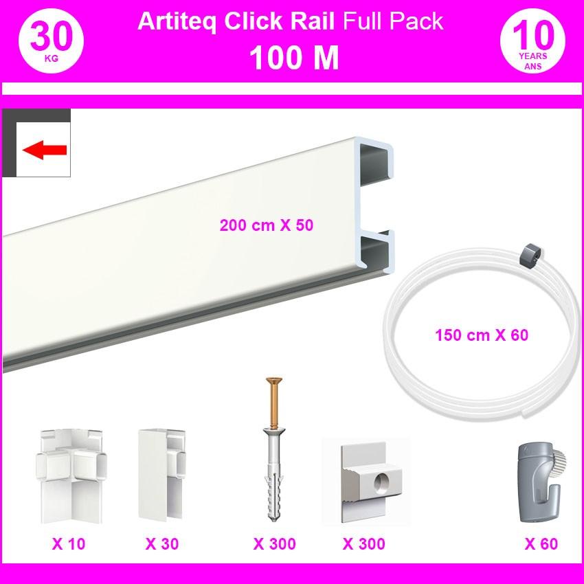 Pack Eco 100 mètres de cimaise Click Rail couleur Blanc laqué (RAL9010) - Solution suspension cadres et tableaux