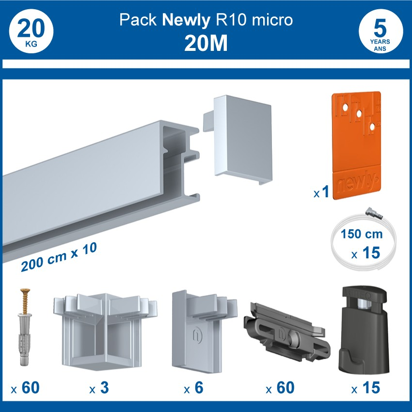 Pack complet 20 mètres cimaises R10 MICRO PERLON couleur Aluminium anodisé