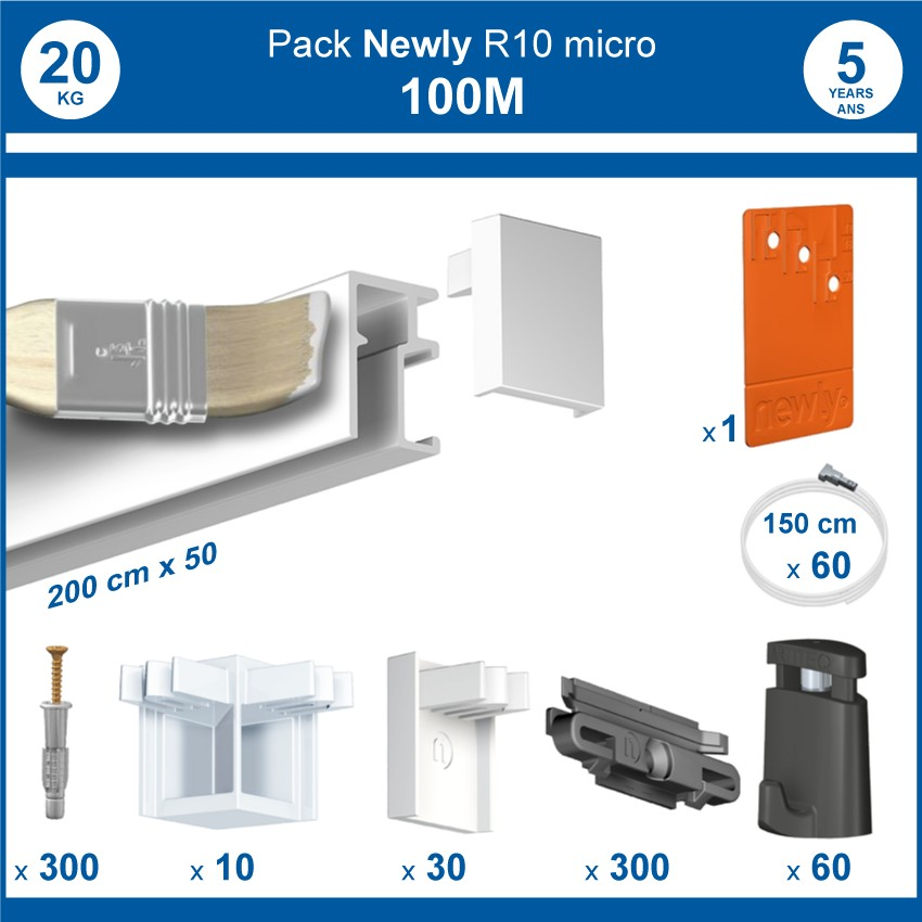 Pack complet 100 mètres cimaises R10 MICRO PERLON couleur Blanc (peut être peint)