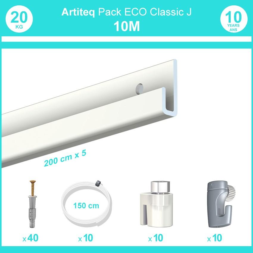 Pack complet 10 mètres cimaise Classic J couleur Blanc laqué - Suspension et déplacement facile de cadres et tableaux