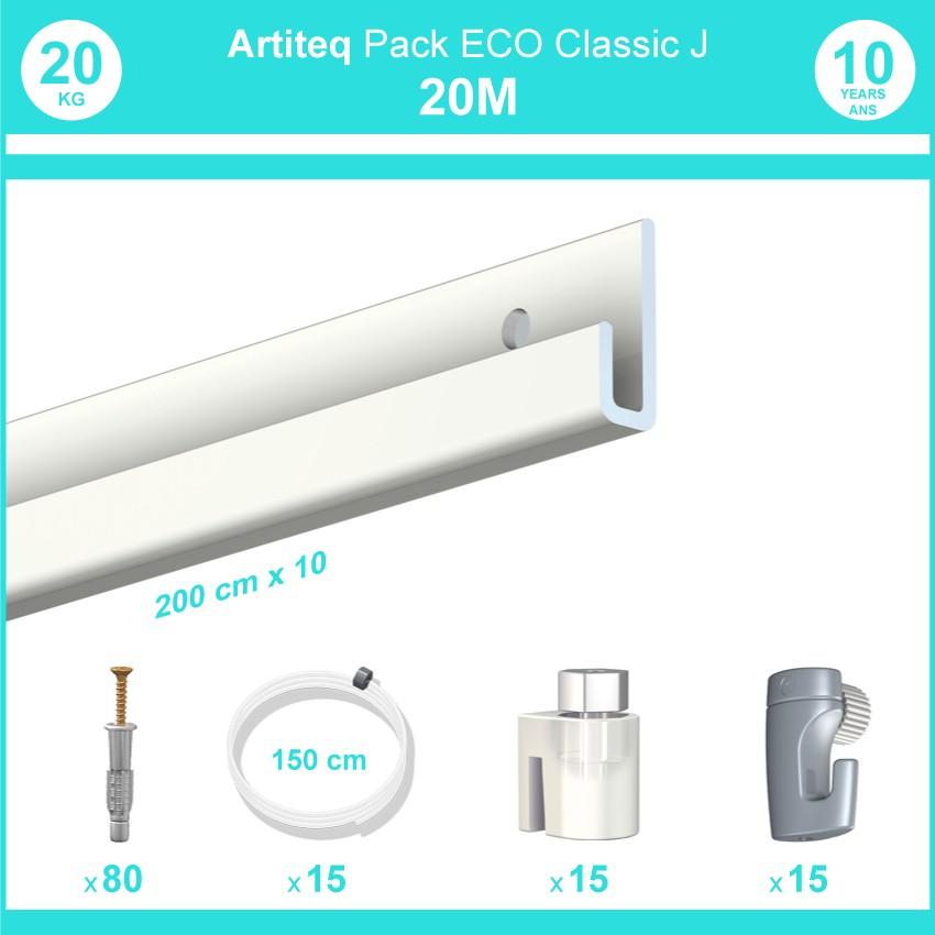 Pack complet 20 mètres cimaise Classic J couleur Blanc laqué - Suspension et déplacement facile de cadres et tableaux