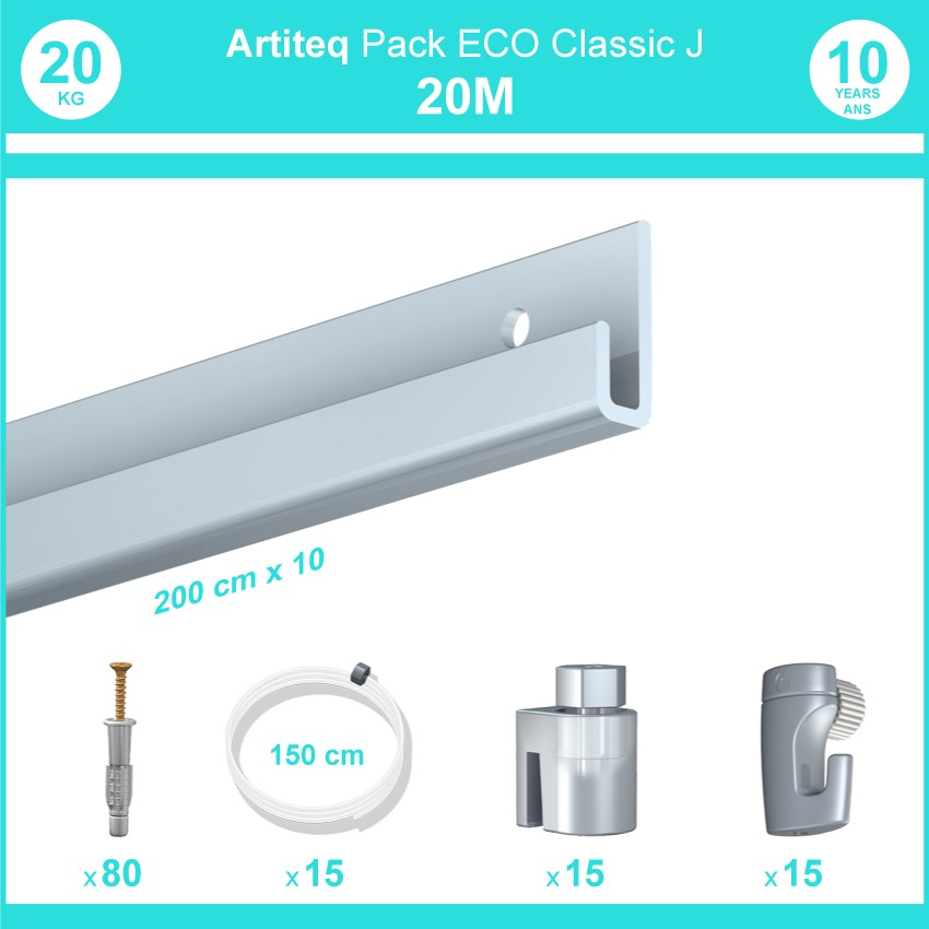 Pack complet 20 mètres cimaise Classic J couleur Aluminium - Suspension et déplacement facile de cadres et tableaux