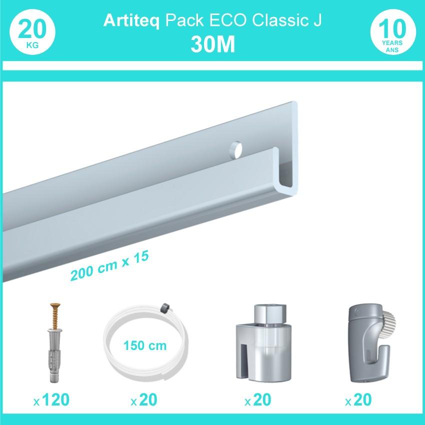 Pack complet 30 mètres cimaise Classic J couleur Aluminium - Suspension et déplacement facile de cadres et tableaux