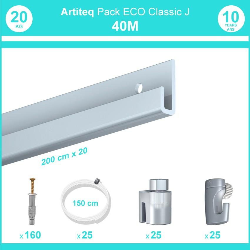 Pack complet 40 mètres cimaise Classic J couleur Aluminium - Suspension et déplacement facile de cadres et tableaux