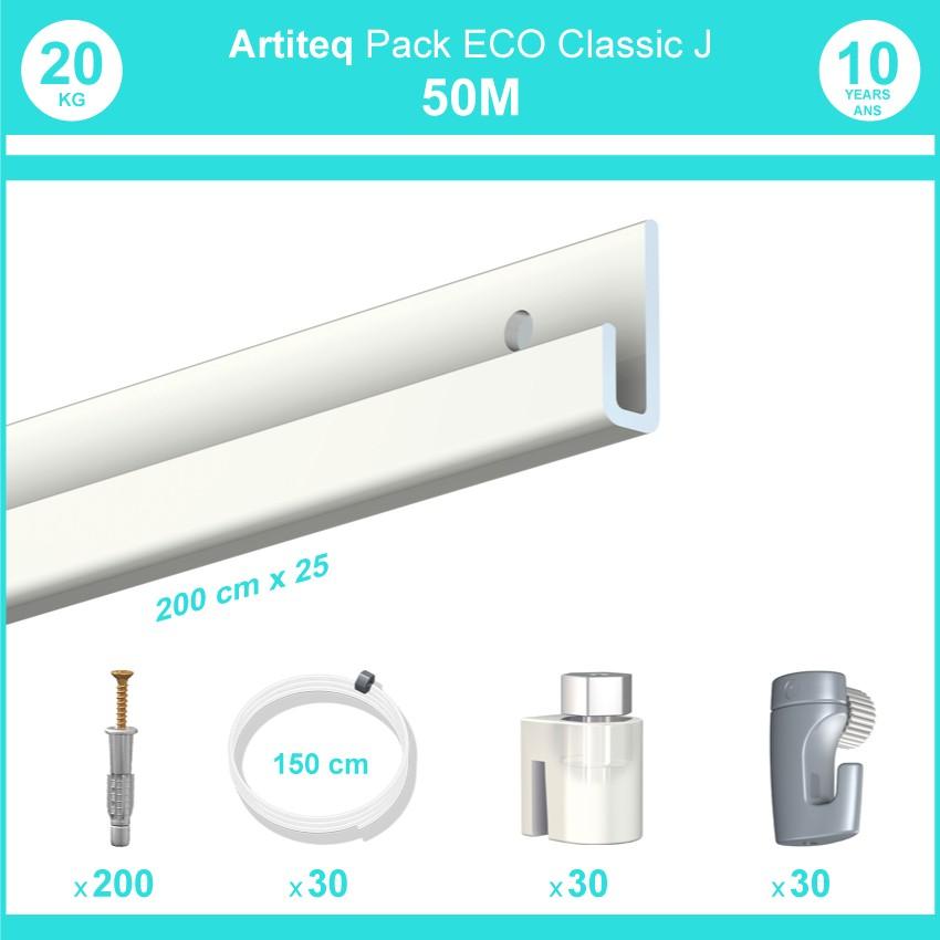 Pack complet 50 mètres cimaise Classic J couleur Blanc laqué - Suspension et déplacement facile de cadres et tableaux