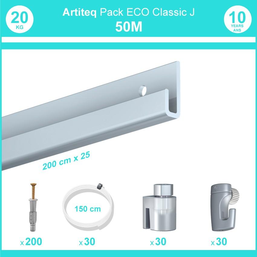 Pack complet 50 mètres cimaise Classic J couleur Aluminium - Suspension et déplacement facile de cadres et tableaux