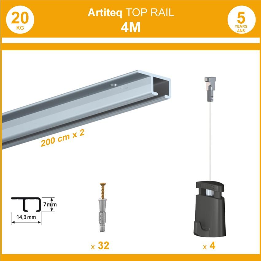 Pack 4 mètres cimaises Top Rail couleur Aluminium anodisé - Cimaise rail plafond pour suspension cadres et tableaux