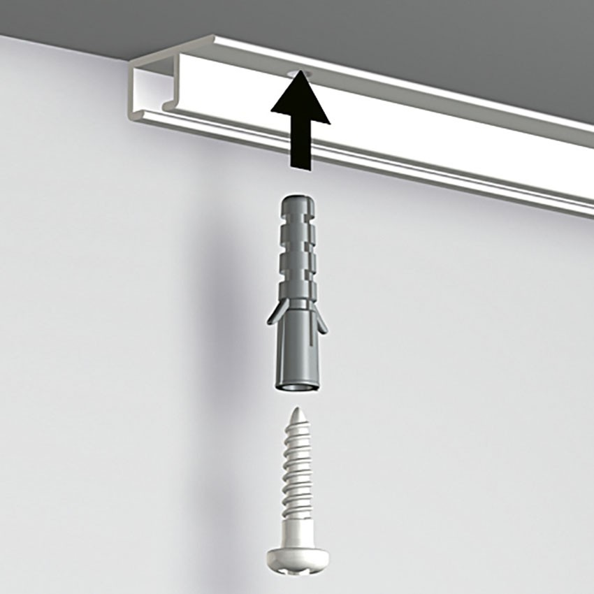 Pack 6 mètres cimaises Top Rail couleur Blanc - Cimaise rail plafond pour suspension cadres et tableaux