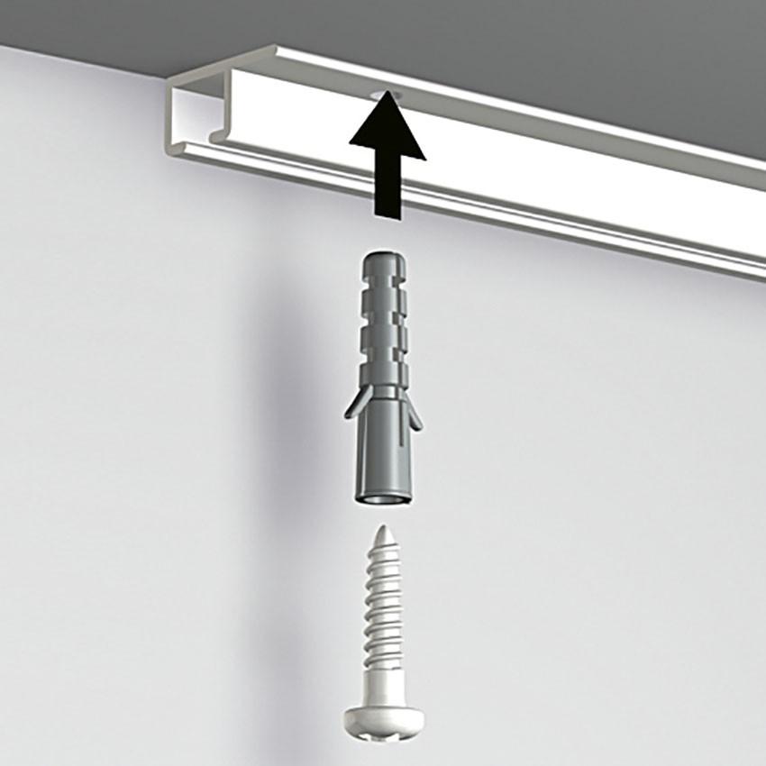Pack 8 mètres cimaises Top Rail couleur Aluminium anodisé - Cimaise rail plafond pour suspension cadres et tableaux