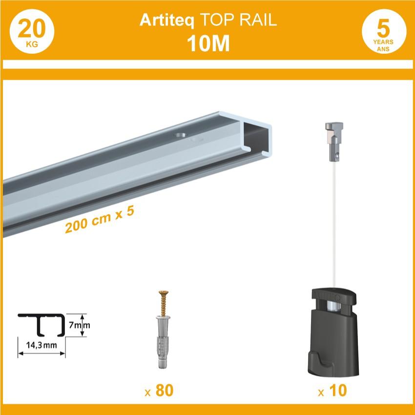Pack 10 mètres cimaises Top Rail couleur Aluminium anodisé - Cimaise rail plafond pour suspension cadres et tableaux