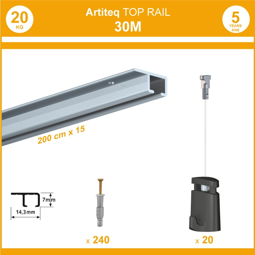 Pack 30 mètres cimaises Top Rail couleur Aluminium anodisé - Cimaise rail plafond pour suspension cadres et tableaux