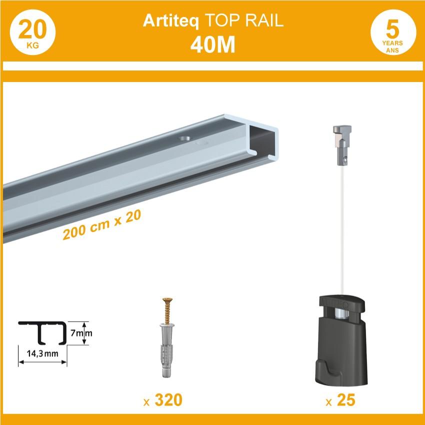 Pack 40 mètres cimaises Top Rail couleur Aluminium anodisé - Cimaise rail plafond pour suspension cadres et tableaux