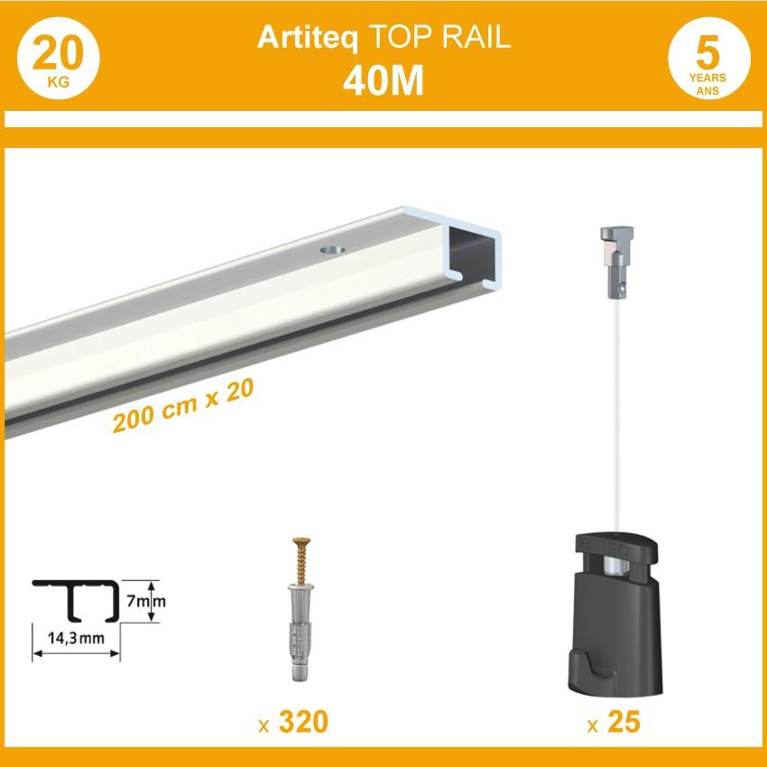 Pack 40 mètres cimaises Top Rail couleur Blanc - Cimaise rail plafond pour suspension cadres et tableaux