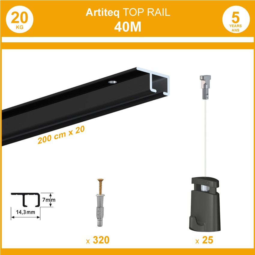 Pack 40 mètres cimaises Top Rail couleur Noir - Cimaise rail plafond pour suspension cadres et tableaux