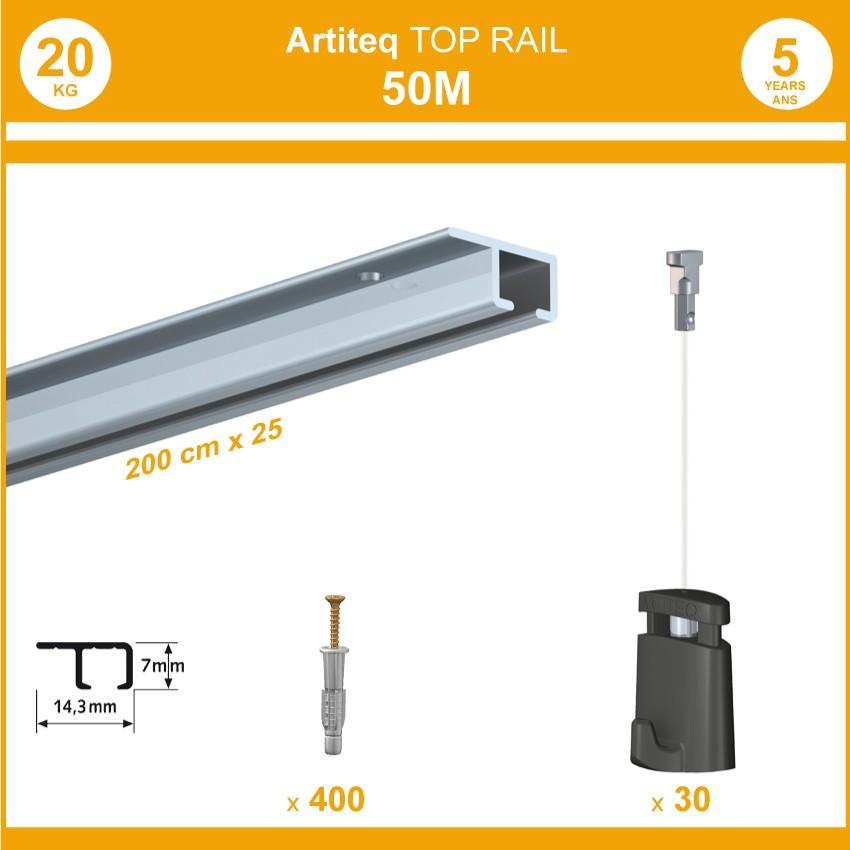 Pack 50 mètres cimaises Top Rail couleur Aluminium anodisé - Cimaise rail plafond pour suspension cadres et tableaux