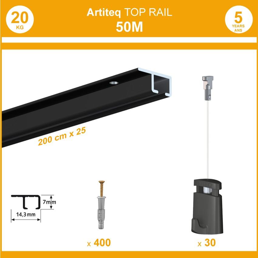 Pack 50 mètres cimaises Top Rail couleur Noir - Cimaise rail plafond pour suspension cadres et tableaux