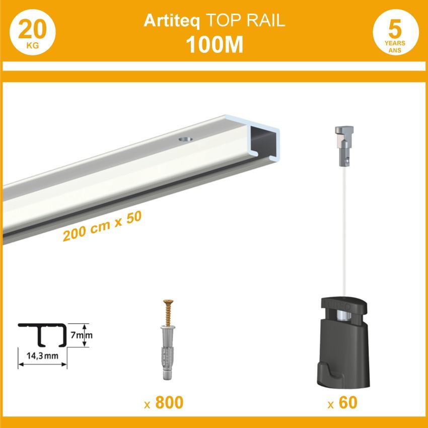 Pack 100 mètres cimaises Top Rail couleur Blanc - Cimaise rail plafond pour suspension cadres et tableaux