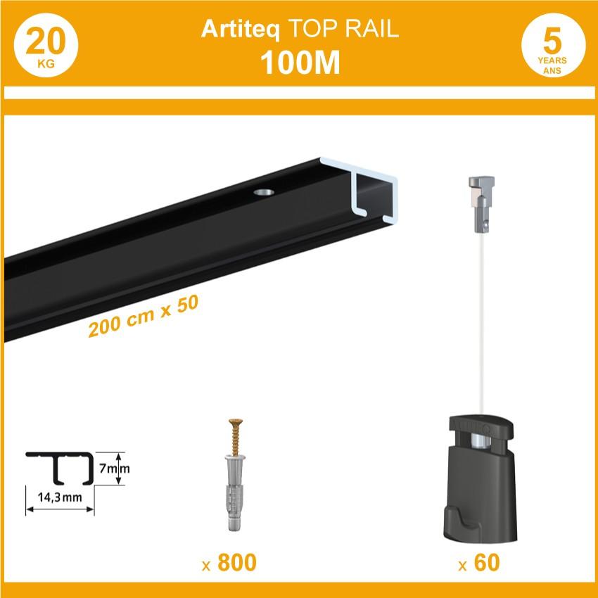 Pack 100 mètres cimaises Top Rail couleur Noir - Cimaise rail plafond pour suspension cadres et tableaux