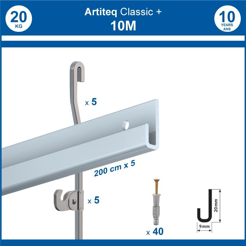 Pack 10 mètres cimaises Classic + Gallery couleur Aluminium - Solution d'accrochage pour décoration murale lourde