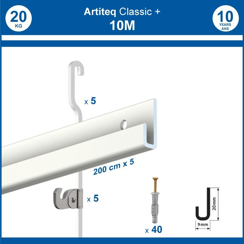 Pack 10 mètres cimaises Classic + Gallery couleur Blanc - Solution d'accrochage pour décoration murale lourde