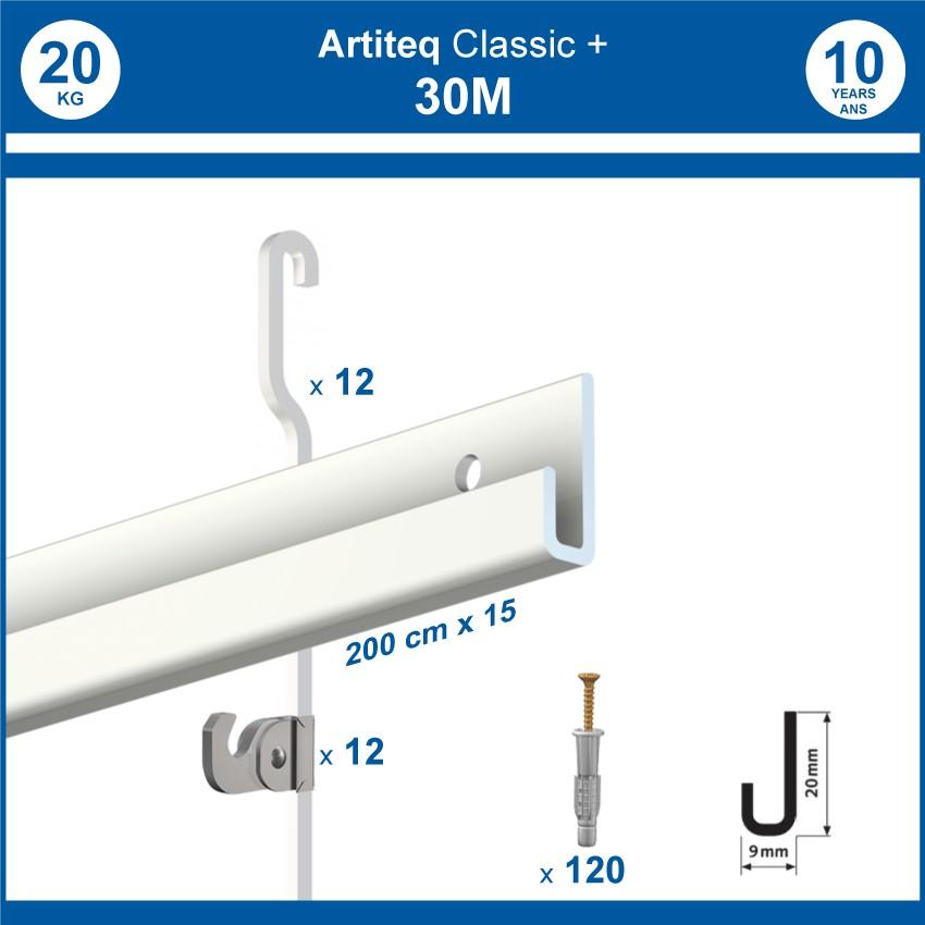 Pack 30 mètres cimaises Classic + Gallery couleur Blanc - Solution d'accrochage pour décoration murale lourde