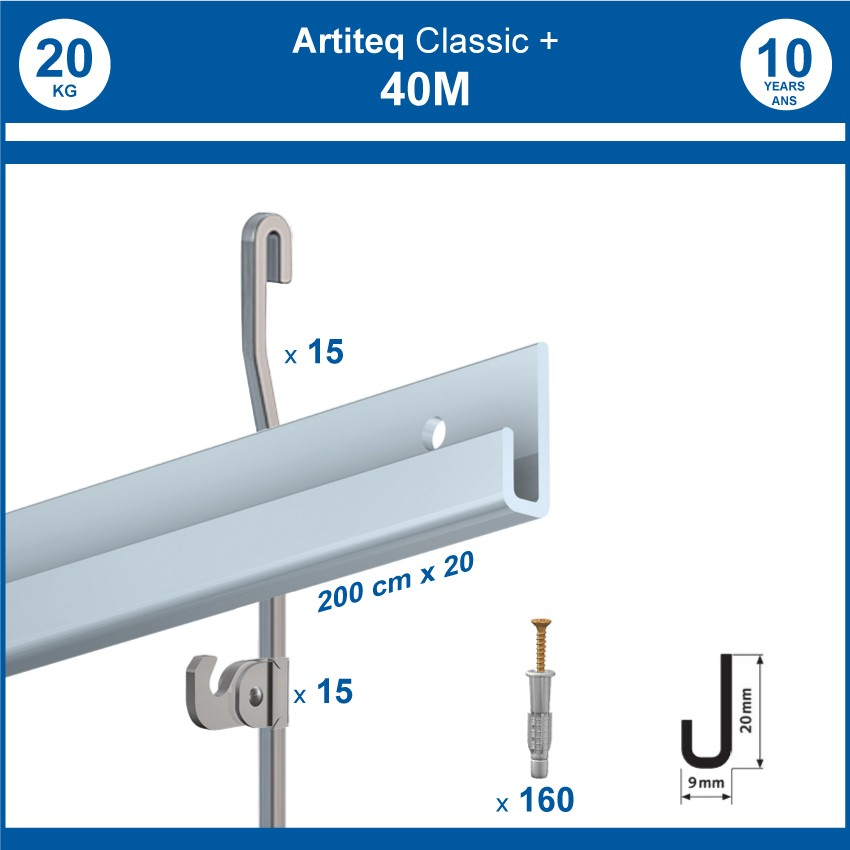Pack 40 mètres cimaises Classic + Gallery couleur Aluminium - Solution d'accrochage pour décoration murale lourde
