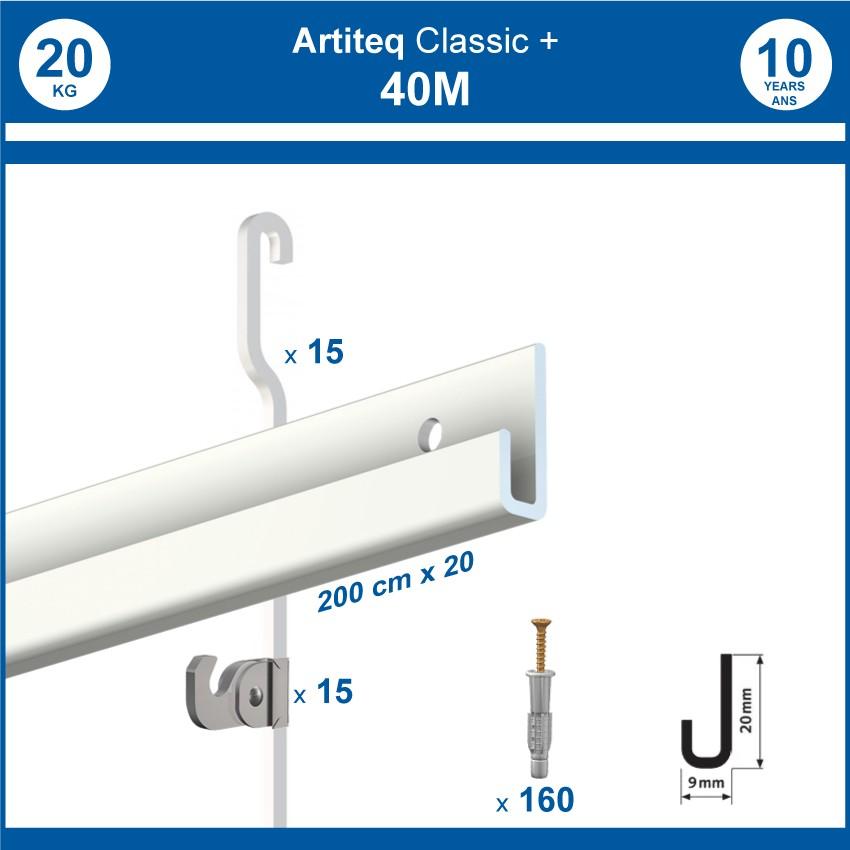 Pack 40 mètres cimaises Classic + Gallery couleur Blanc - Solution d'accrochage pour décoration murale lourde